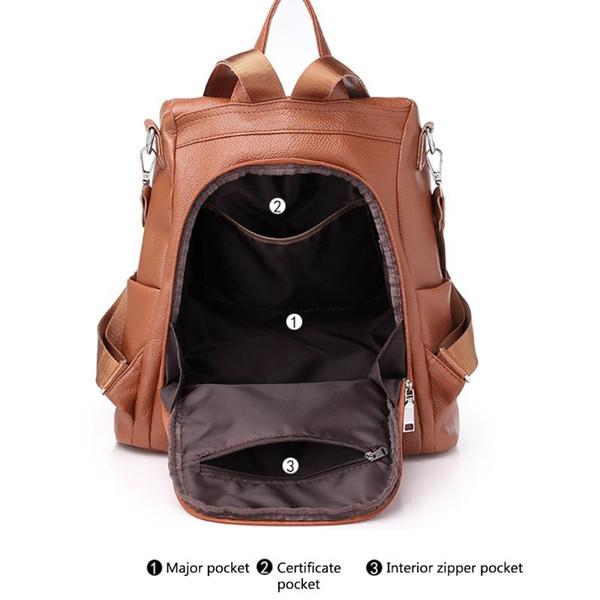 Brown/Black Women Backpack Purse PU Leather Anti-theft Rucksack Fashion School Shoulder Bag
