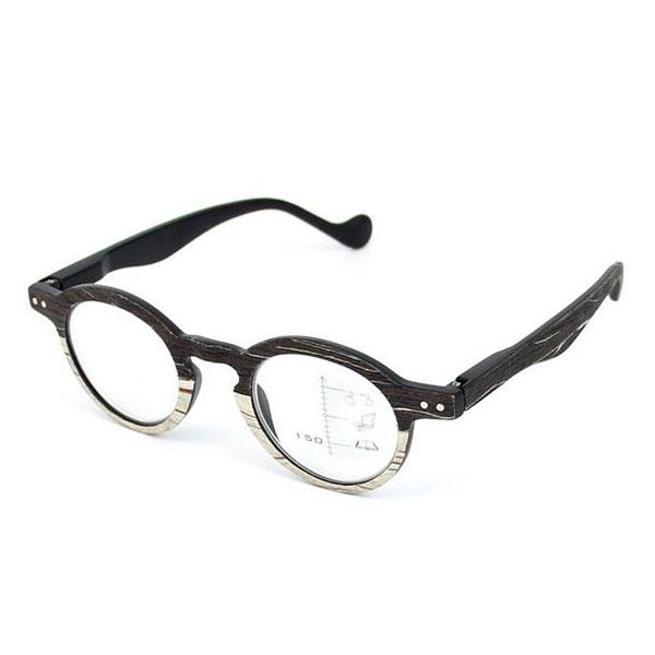 08e18fac3b Retro Round Progressive Reading Glasses Multifocal Eyeglasses Multi Focus  Near and Far Multifunction Eyewear +1.0~+3.0 Black Wood Grain