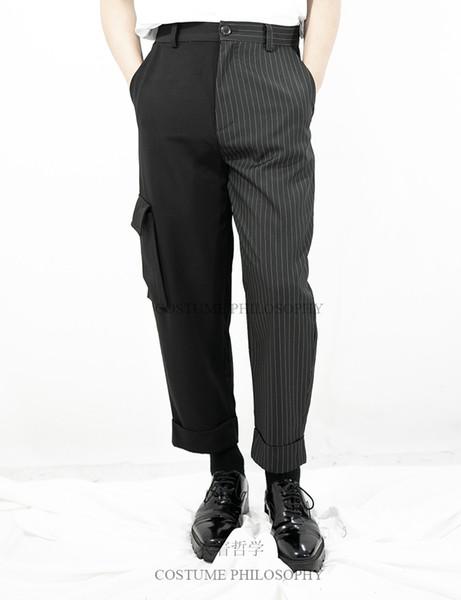 27-44! Büyük boy, yüksek kaliteli pantolon Orijinal tasarım baggy erkek rahat pantolon kişilik asimetrik geniş bacak