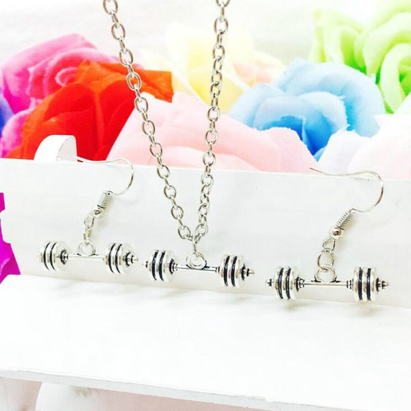 Hot Sale Alloy Antique Silver Dumbbell Barbell Charms Pendant Necklace Earring Set Fashion Creative Women Jewelry Accessories Holiday Gift