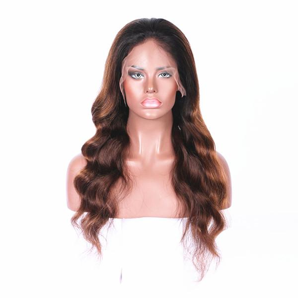 Long lasting full lace human hair with baby hair wig 100% unprocessed remy long ombre color body wave for women