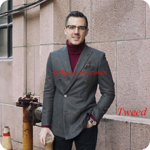 Grey Tweed Classic Men Suits for Wedding Prom Harringbone Double Breasted Custom Made Smoking Jacket Man Blazer 2Piece Ternos Costume Homme