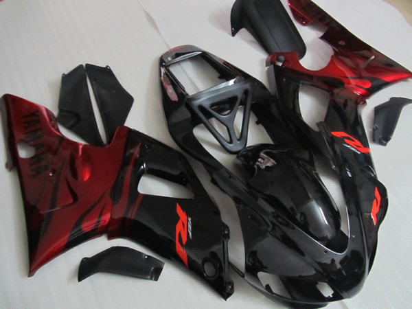 High grade Fairing kit forYAMAHA YZF R1 1998 1999 red flames in black fairings set YZF R1 98 99 QR56
