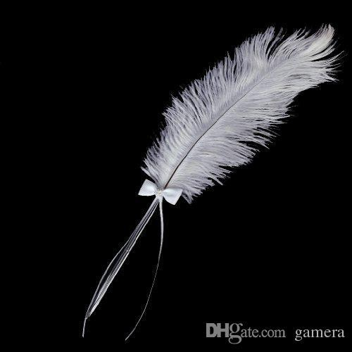 Wholesale- GSFY- Bowknot Wedding Signing Pen White Ostrich Feather Pen with Diamante