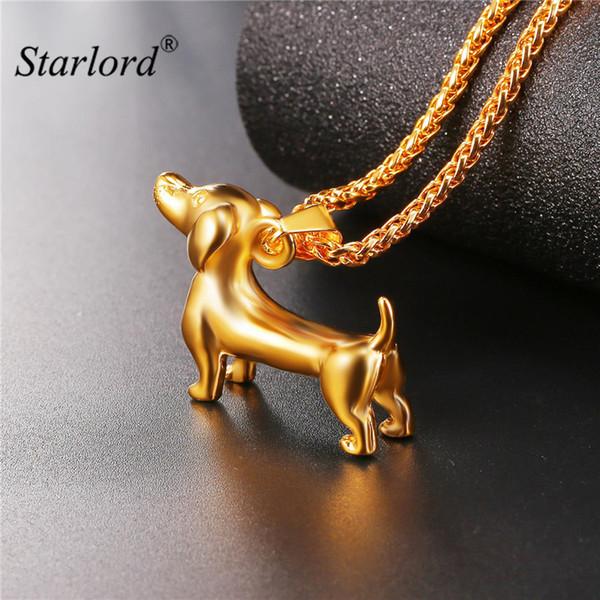 Starlord Tier Haustier Dackel Hund Halskette Anhänger Wurst Hund Collier Edelstahl / Gold Farbe Seil Kragen Für Männer GP2462