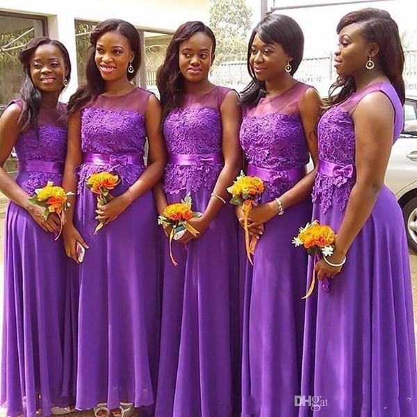 A-Line New Purple Jewel Sheer Neck Sleeveless 2018 Bridesmaid Dress Lace Top Robbon A-Line Maid Of Honer Dresses Wedding Guest Dress