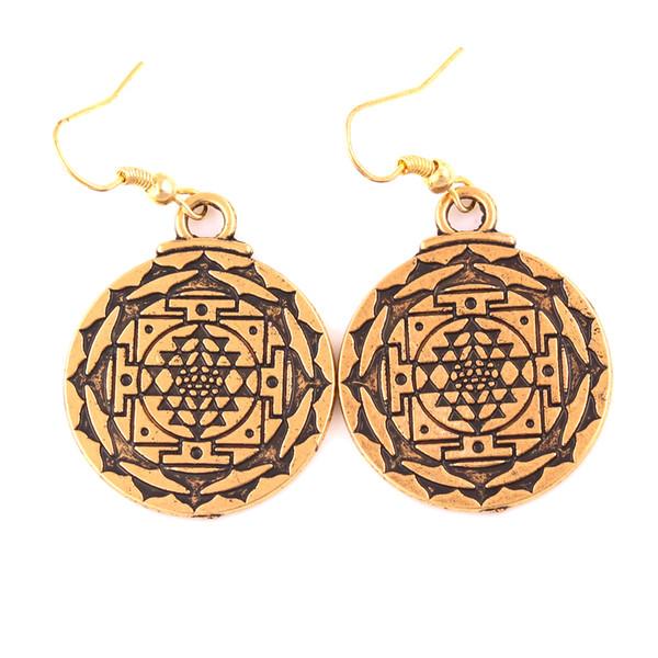 Cor de prata de ouro chakra 3 olho deusa hindu yoga yantra wicca riqueza pingente clipe de charme brinco