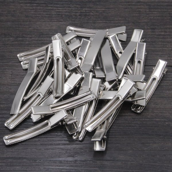 200pcs/lot Double Prong Alligator Hair Clips Flat Metal Boutique Hairpins with No Teeth for DIY Hair Styling Accessory
