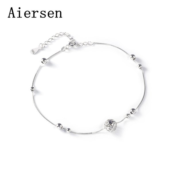 Aiersen Fashion Contracted 925 Sterling Silver Women Anklets Ball Chains Real Sterling Silver Girl Anklets Cavigliera Argento