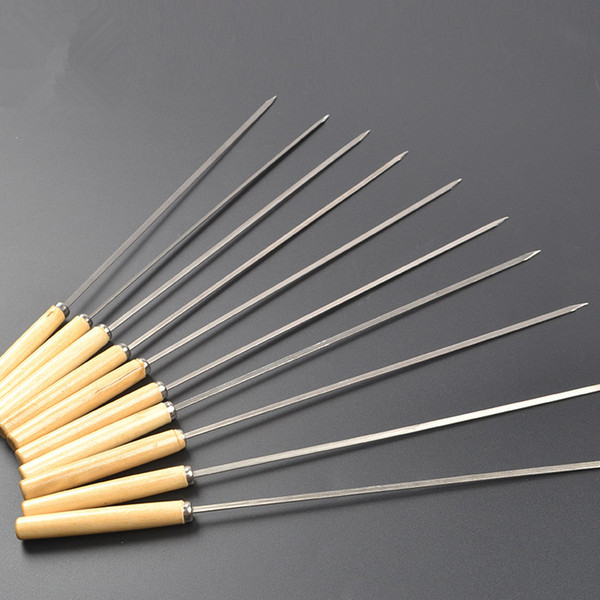Stainless Steel Barbecue Skewers Wooden Wood Handle Metal Roasting Needle Outdoor Picnic BBQ Tools Forks T1I442