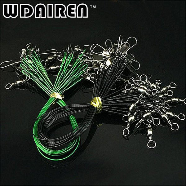 20 pcs/lot Fishing Wire Line Leash Lure Fishhook Line Trace Wire Leader Swivel Snap Spinner Shark Spinning Expert FA-363
