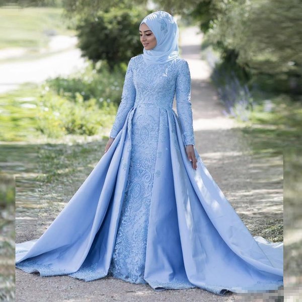 Vintage Sky Blue Muslim Wedding Dresses With Overskirt Train 2018 Full Long Sleeves Lace Appliques Bridal Party Gowns For Garden