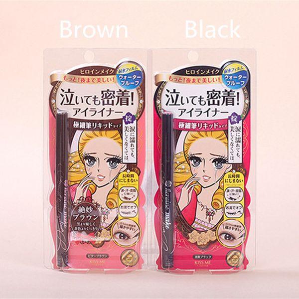 Japón Marca KISSME Delineador líquido fino Lápiz Negro Marrón Color