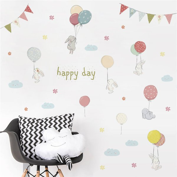 sticker for kids room happy day cartoon rabbit flower balloons Flag wall sticker for kids rooms wall decal bedroom living room birthday