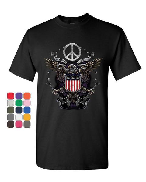 Freedom Rock T-Shirt Peace American Flag Bald Eagle 4th of July Mens Tee Shirt