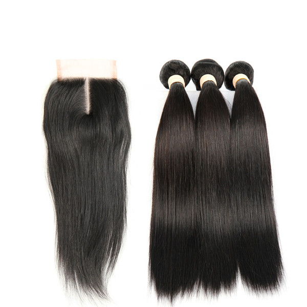 Brazilian Straight Hair 3 Bundles with 4*4 Lace Closure or 13*4 Lace Frontal Brazilian Peruvian Indian Virgin Human Hair Extensions