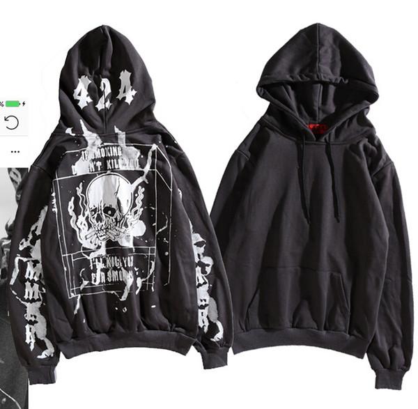 Mens 424 Felpe con cappuccio per il design di teschi, pullover con cappuccio casual, felpe con stampa hip hop high street