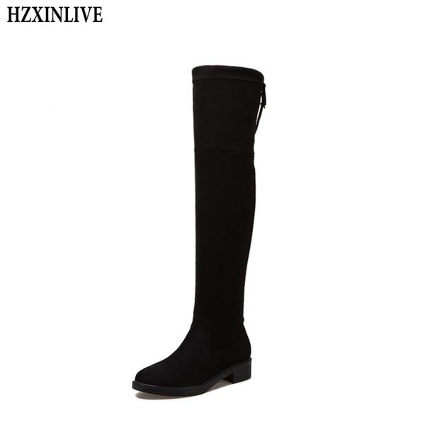 HZXINLIVE 2018 Yeni Akın Kadın Diz Üzerinde Çizmeler dantel Up Kadın Çorap Ayakkabı Seksi Yüksek Topuklu Siyah Kış Çizmeler Sıcak Boyutu 35-38