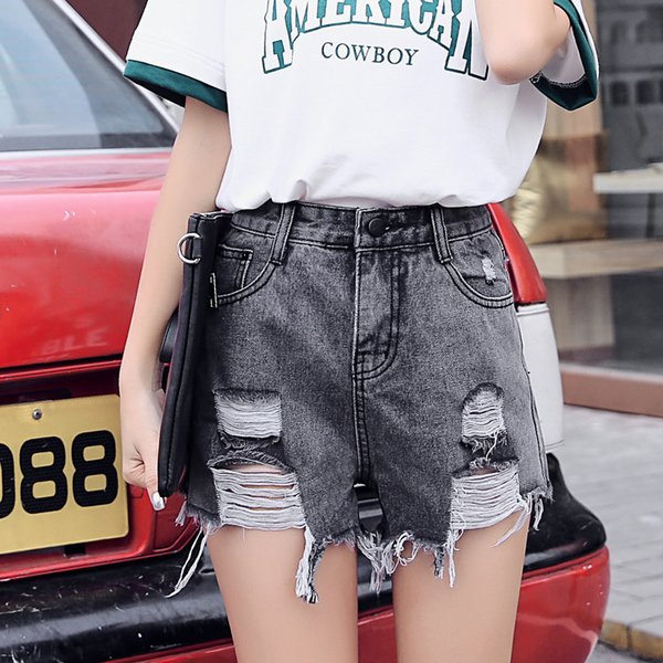 2018 Vintage Ripped Hole Shorts Women Casual Pocket Jeans Shorts Gril Hot