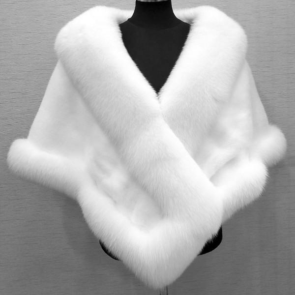 2018 Faux Fur Nupcial Wraps e Xailes Baratos Casacos de Casamento de Inverno Quente Fox Faux Fur Coat Mulheres Roubou Bolero Branco Preto Borgonha