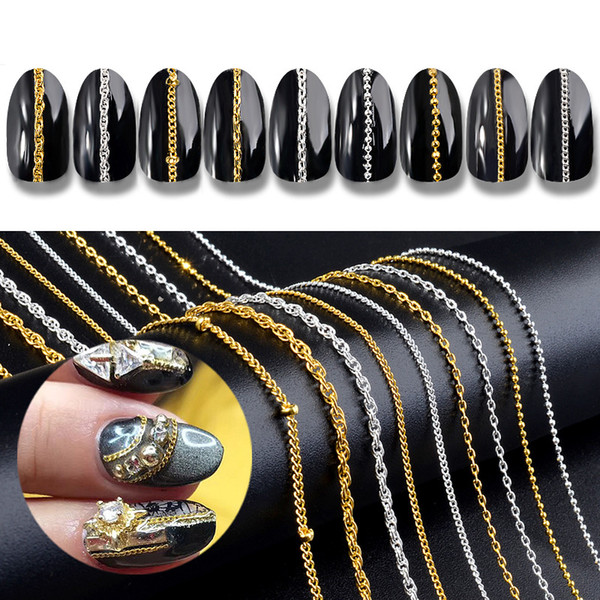 ELECOOL 3 pcs 3D Gold/Silver Nail Metal Steel Ball Chains Rock Punk Style Manicure Jewelry professional DIY Nail Accessory New
