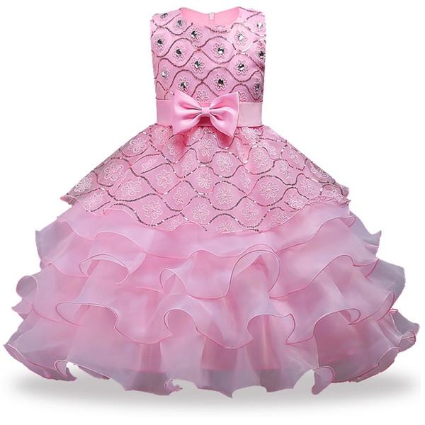Blumenmädchenkleider für Hochzeit Baby Mädchen Sleeveless Großen Bogen Prinzessin Kleid Kinder Party Vestidos New Year kleidung Y1892113