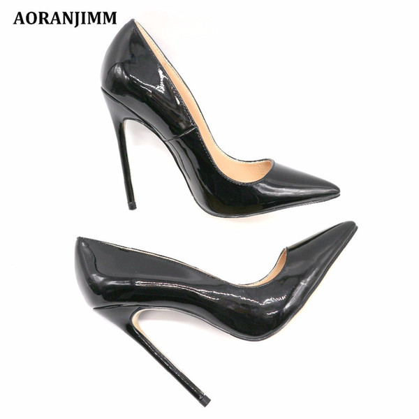 727592e41 Free Shipping women lady 2018 classic black patent real leather Poined Toes  Wedding heels Stiletto High