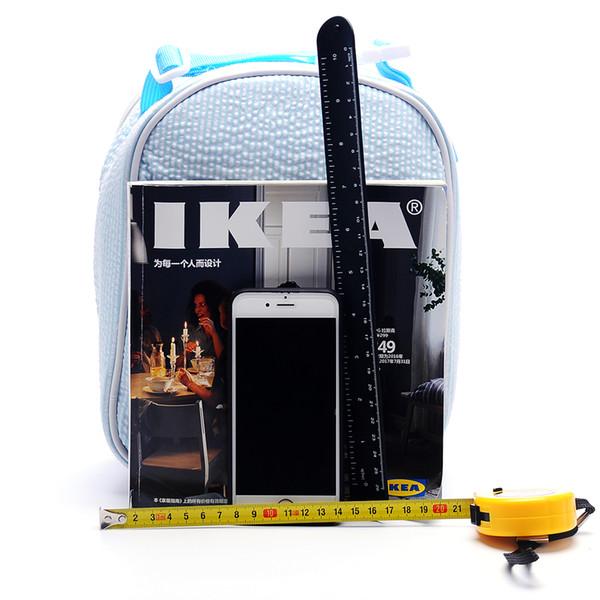 DOMIL Seersucker Lunch Bag Bandeja de comida aislada con soporte para alimentos con asa Mantenga el interior o el frío dentro de la bolsa de funciones DOM109344