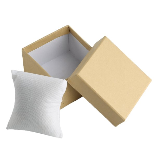 Caja de reloj simple Cartón marrón Estuches elegantes 9 * 5.5 * 8.5cm Cajas de regalos de boda Caja de dulces del partido con cojín de espuma Almohada