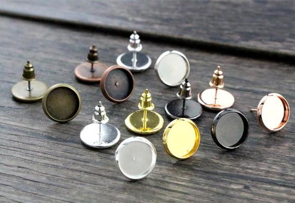 best selling 10mm 20pcs 7 Colors Plated Earring Studs,Earrings Blank Base,Fit 10mm Glass Cabochons,earring setting;Earring Bezels