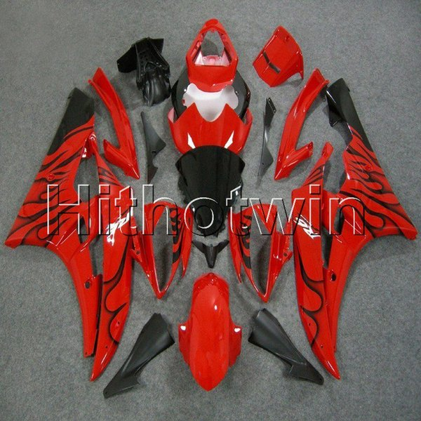 23colors + 8Gifts Injection mold black flames Cuerpo Kit motocicleta cubierta para Yamaha 2006-2007 YZFR6 06-07 YZF-R6 ABS Plastic Fairing