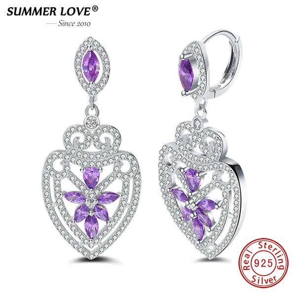 Yaz Aşk Marka Otantik% 100% 925 Gümüş Lüks Ametist Damla Küpe Taş Güzel takı Düğün earringsY1882701