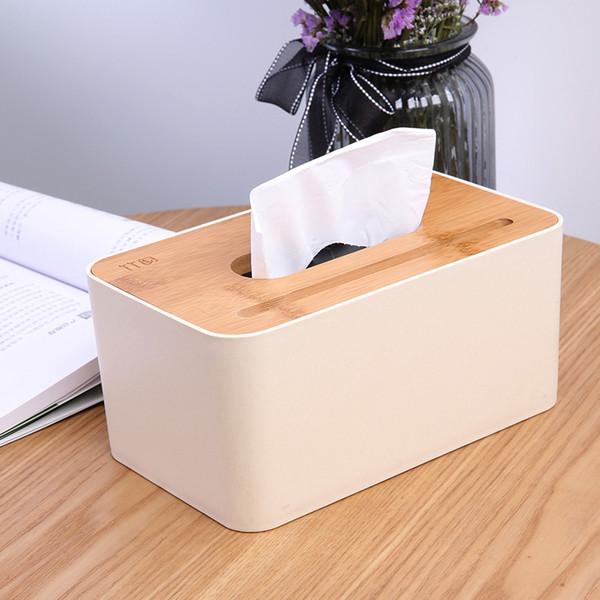 Bamboo Rectangular Tissue Box Multi-function Household Car Tissue Holder Phone Holder 3162