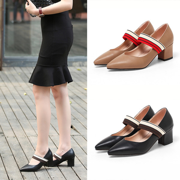 2018 Spring Summer Fashion Preppy Style Pointed-toe V-cut Chunky Heels Mary  Jane Pumps for Women Ladies Office Shoes c804470a5c38