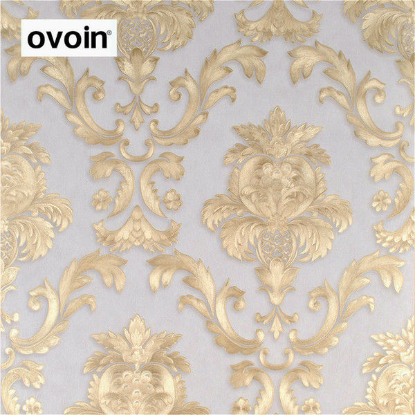 Brown Gold Yellow Textured Luxury Damask Wallpaper Damasco a rayas en relieve de papel de pared de vinilo decoración del hogar