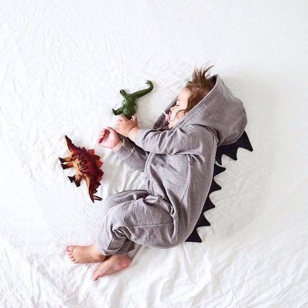 Baby Girls Boys Pagliaccetti Infant Toddler Kids Dinosaur Felpa con cappuccio Pagliaccetto Zip Tuta Vestiti manica lunga Autunno Cotone Baby Pagliaccetti