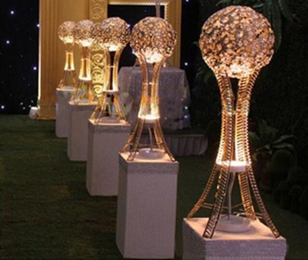 H27in Globe stand of wedding Event table tall centerpieces SILVER or GOLD ,Crystal metal ball candle holder