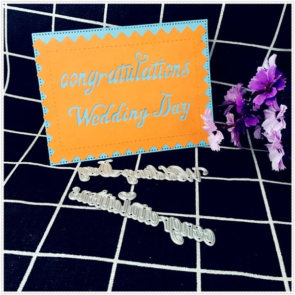 2pcs/Set Wedding Congratulations Metal Cutting Dies Stencils for DIY Scrapbooking Paper Cards Making Decorative Embossing Crafts