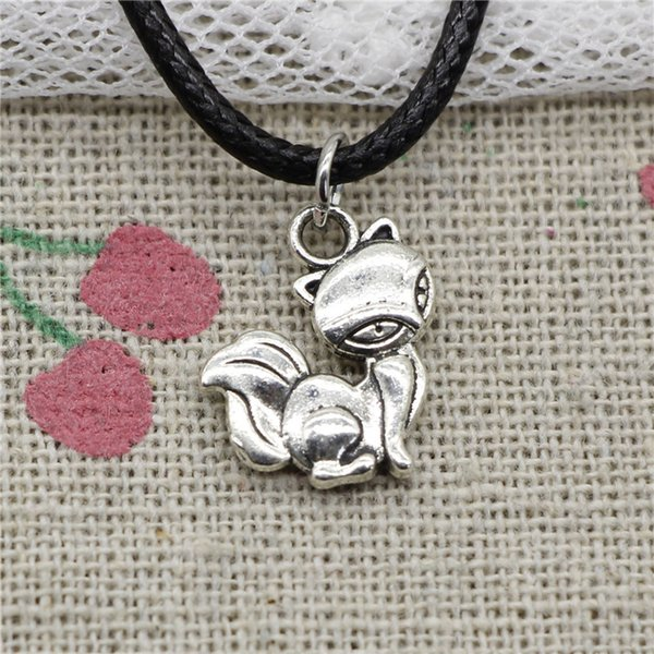 Creative Fashion Antique Silver Pendant fox 15*14mm Necklace Choker Charm Black Leather Cord Handmade Jewlery