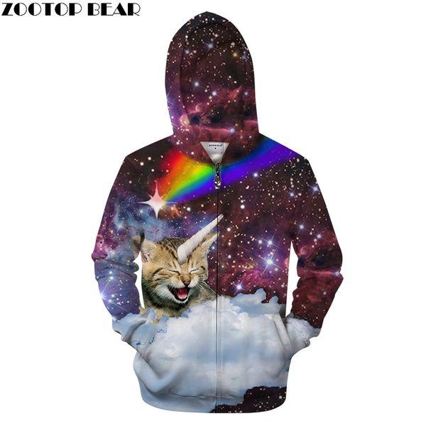 Galaxy Cat Hoodies Zip Hoodie Men Women Sweatshirts Unisex Funny 3D Hoody Fashion Streetwear Male Tracksuits Brand Hot Jacket