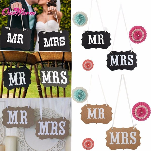 10pcs/lot Wedding Garland Banner MR&MRS /BRIDE&GROOM Paperboard Photobooth Props for Weddings Decoration Event Party Supplies
