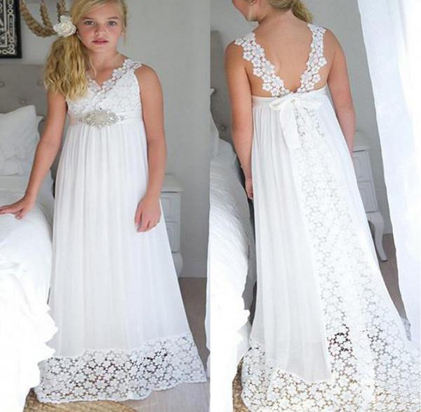2019 New Flower Girl Dresses Dour Straps Boho First Communion Dress For Little Girl V-Neck A-Line Cheap Kids Wedding Dress