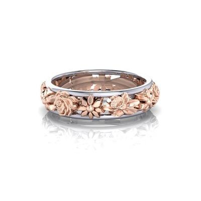 Rose Gold Plant Flower Ring Band Rings Finger Ring Fashion Jewelry for Women Christmas Gift Will and Sandy Drop Shipping