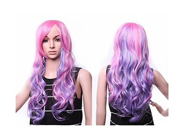 22''Long Wave Curly Ombre Multi-color Lolita Cosplay Synthetic Wig