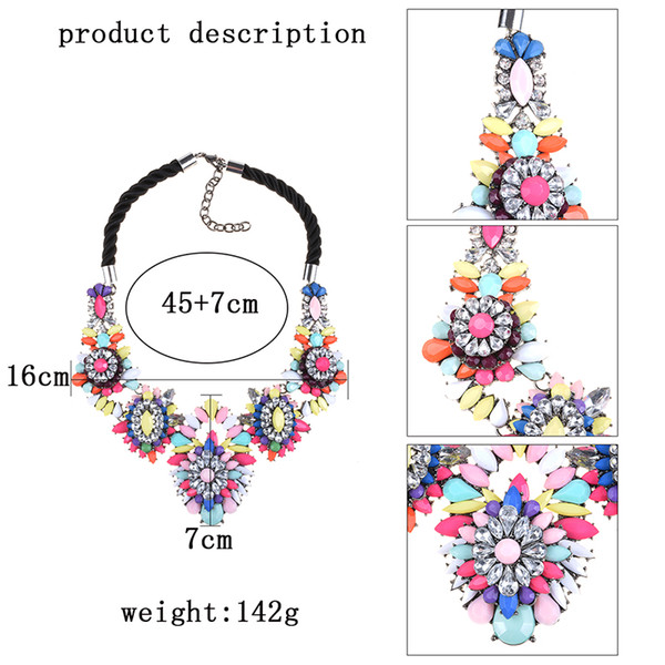 jewelry high quality PPG&PGG Fashion Jewelry High Quality 2019 Rainbow Flower Shourouk Crystal Women Choker Statement Necklaces Pendants
