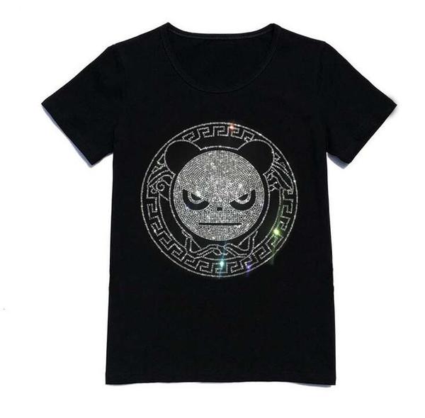 Lovers Hot drill Panda Short sleeve Black white color T shirt Streetwear Leisure time motion half sleeve fashion Trend Jacket Circular