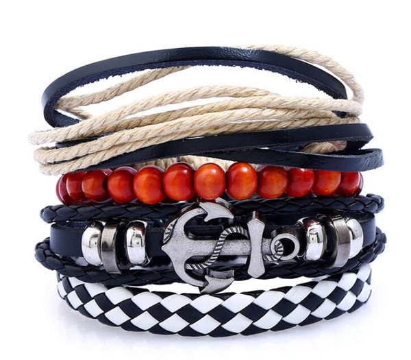 European and American fashion personalities DIY 4 PIECE LEATHER BRACELET punk cowhide hand knitted Bracelet L905