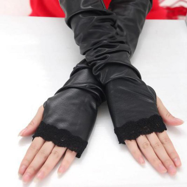 2016 Winter Lace Leather Mittens Female Long Arm Sleeve Half Finger Gloves Black PU Sexy Winter Accessories