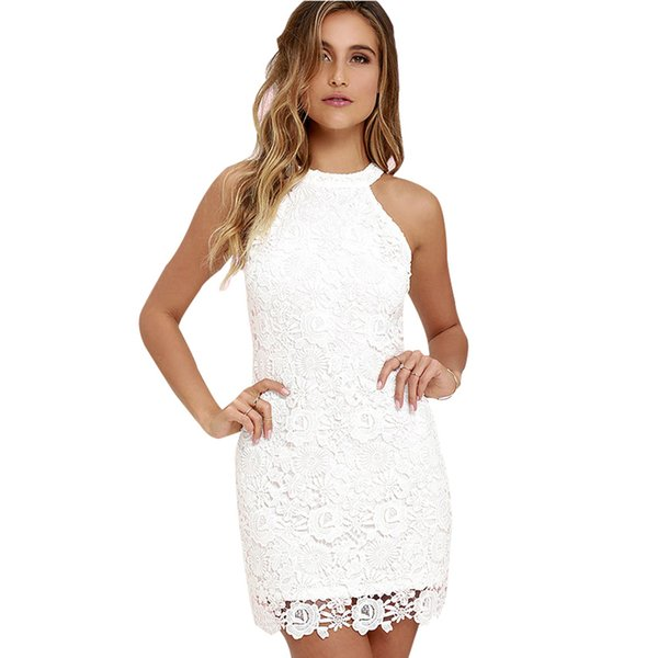 Berydress Cute Women Sexy Halter Neck Sleeveless Prom Homecoming Floral Lace Sheath Bodycon Mini Lace Dress Short Vestidos