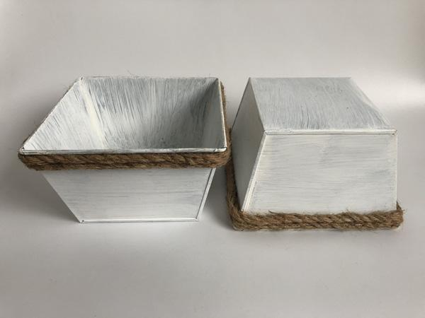 White Square Cube Herbs Planters Rustic Planters with rope for Succulent Rustic Flower&Garden Nursery Pot antique style